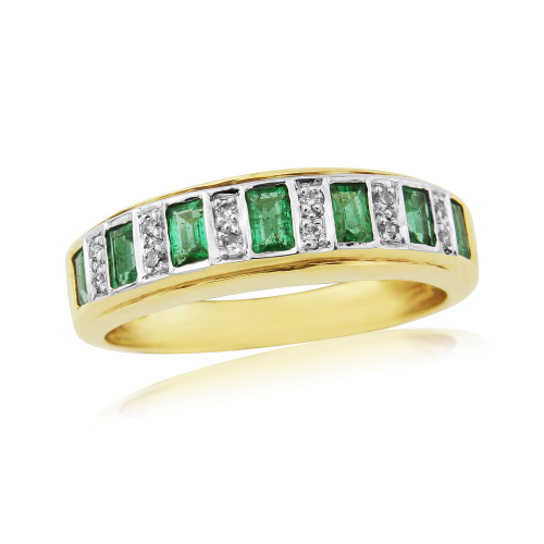 Emerald And Diamond 9 Carat Yellow Gold Half Eternity Ring DER318